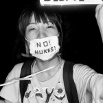 Protestors at an anti-nuclear demonstration near the Japanese Diet.